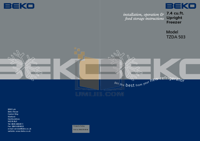 pdf for Beko Freezer TZDA523 manual